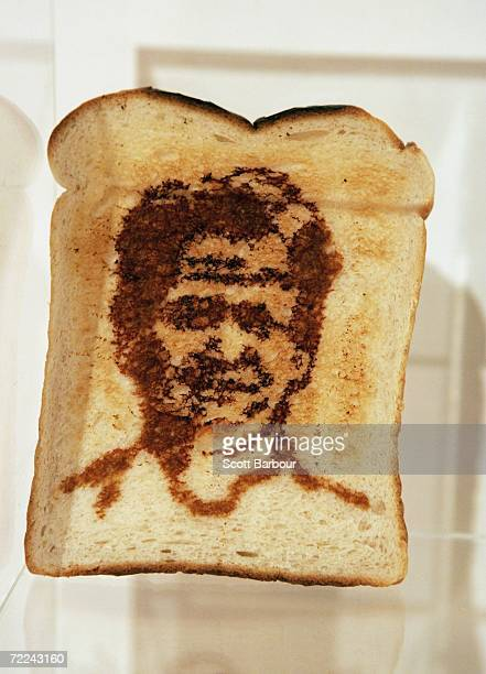 A piece of toast with a portrait of TV chef Gordon Ramsay sits on display during the Marmart exhibition at the Air Gallery on October 23 2006 in...