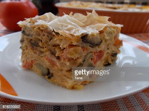 Piece of vegetable pie on plate : Stock Photo