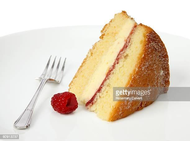 Piece of victoria sponge cake.