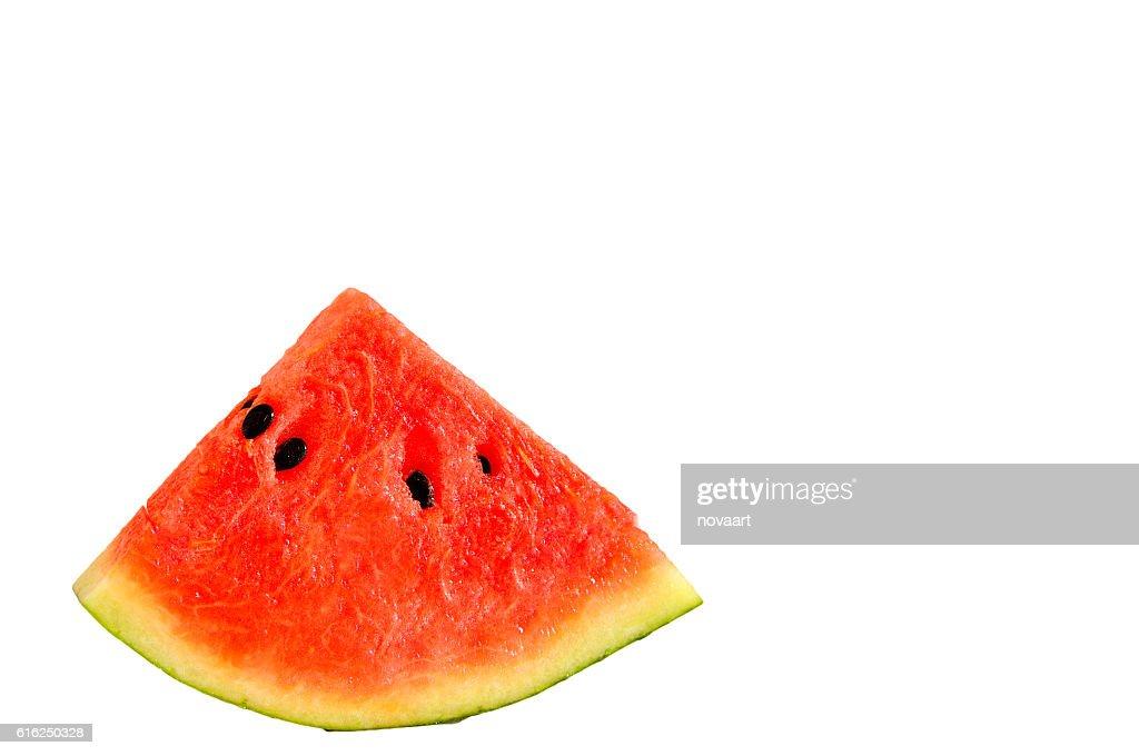 Stück Wassermelone auf weißem Hintergrund : Stock-Foto