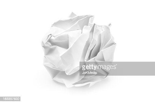 A piece of white crumpled up paper
