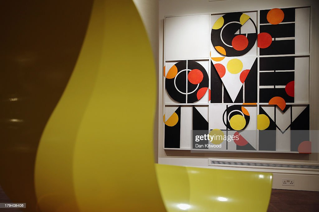 A piece of work entitled 'Geometry 3' by Joe Tilson hangs at Sotheby's auction house on September 3, 2013 in London, England. The piece makes up part of 'The New Situation' exhibition, comprising of 1960's British Art including paintings by David Hockney and Bridget Riley. The exhibition runs at the auction house until September 11.