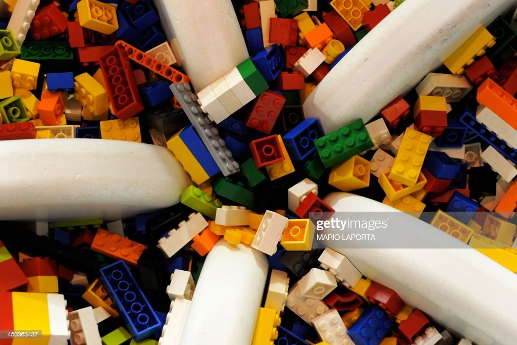 LEGO pieces are pictured during a 'Children Festival' in Naples, south of Italy, on November 17, 2013.