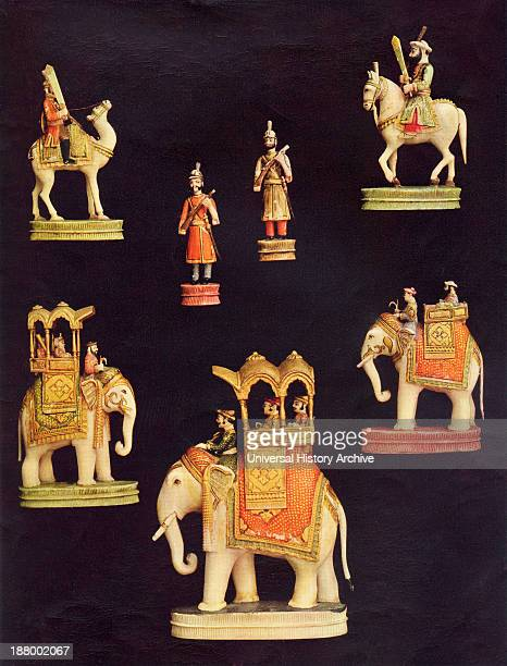Pieces From A Chess Set In Carved And Coloured Ivory Made In Delhi India C1790 For The Begum Samru