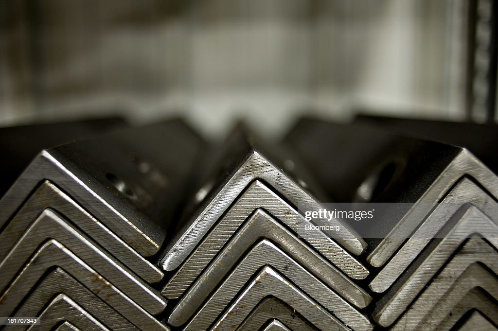 Pieces of angle iron sit on the production floor at the Giese Manufacturing Co. in Dubuque, Iowa, U.S., on Thursday, Feb. 14, 2013. The U.S. Federal Reserve is schedule to release industrial productions figures on Feb. 15. Photographer: Daniel Acker/Bloomberg via Getty Images