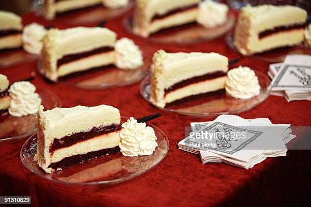 Pieces of cheesecake for guests at the completion of The Cheesecake Factory Feeding America's 'Drive Out Hunger' Tour in support of the Hunger Action...