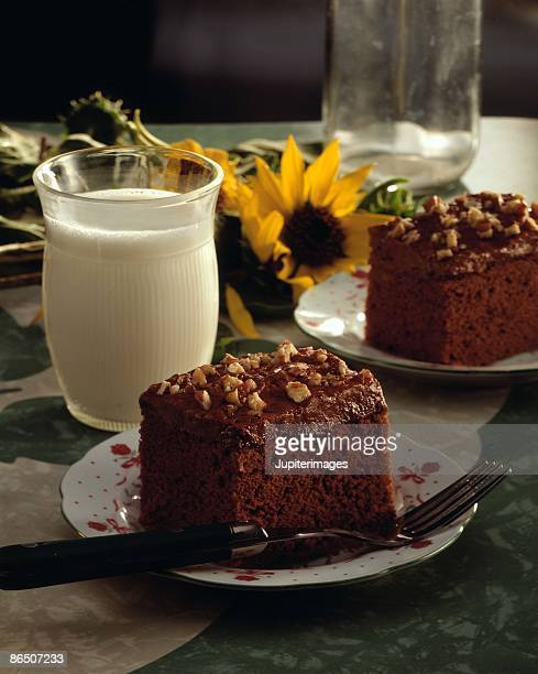 Pieces of chocolate cake