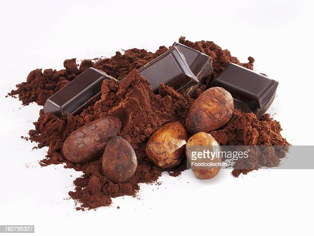 Pieces of chocolate with cocoa powder and cocoa beans