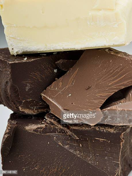 Pieces of dark, milk and white chocolate