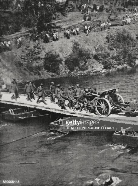 Pieces of Italian mediumcalibre artillery crossing the Isonzo Slovenia World War I from L'Illustrazione Italiana Year XLIV No 37 September 16 1917