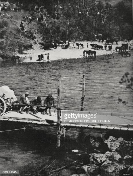 Pieces of Italian mediumcalibre artillery crossing the Isonzo Slovenia World War I detail from L'Illustrazione Italiana Year XLIV No 37 September 16...