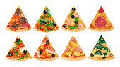 Pieces of pizza on a white background. Collection.