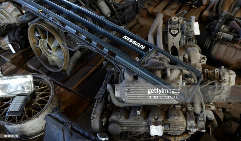 Pieces of used cars are pictured at a recycling company near Munich, southern Germany, on February 6, 2013.