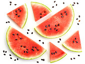 pieces of watermelon isolated on white background, top view