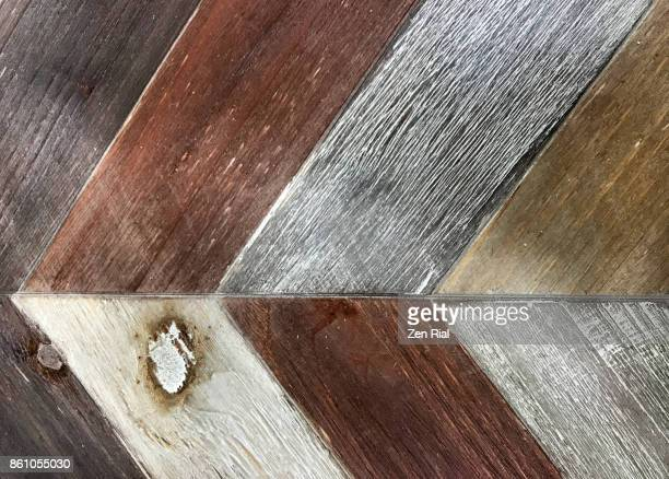 Pieces of wood board arranged diagonally in a row