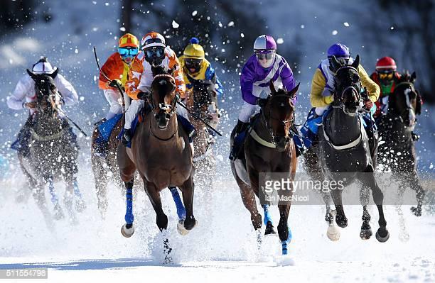 Piechelek Rene riding Jungleboogie leads during the Gubelin 77 Grosser Preis von St Moritz during the White Turf Horse races on February 21 2016 in...