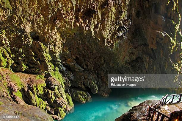 Piedra River Cave Iris inside the 'Cola de Caballo Waterfall' at Monasterio de Piedra Nuevalos Zaragoza province Aragon Spain