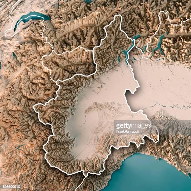 Piemonte Staat Italien 3D Render topographische Karte Neutral Grenze