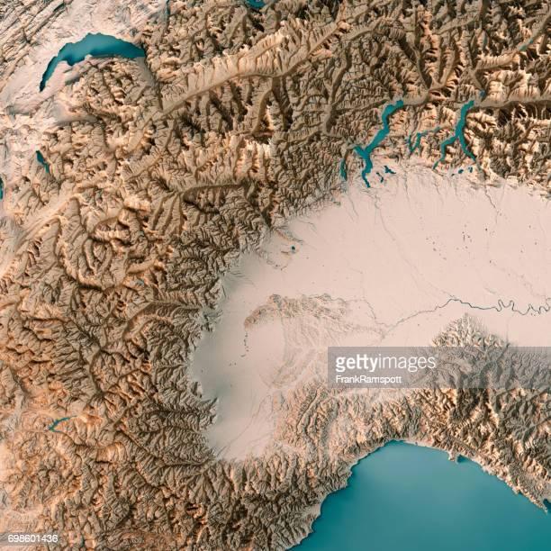 Piemonte Staat Italien 3D-Render topographische Karte Neutral