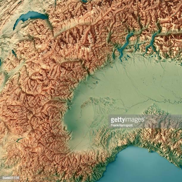 Piemonte Staat Italien 3D-Render topographische Karte