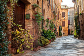 The old town and the streets of the medieval period,  Pienza, Italy.
