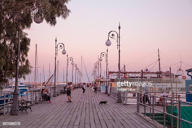 Pier at Larnaca marina at dusk