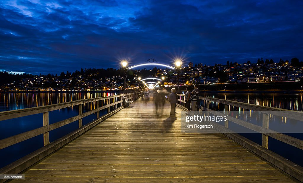 Pier at night in White Rock, BC, Canada