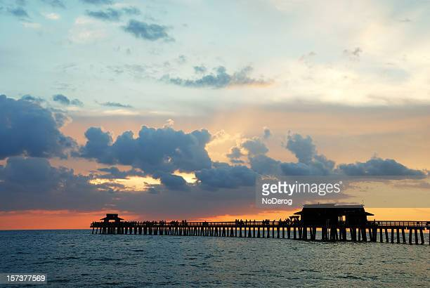 Pier at sunset on ocean