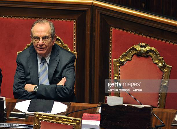 Pier Carlo Padoan attends the Senat Assembly To Vote The Confidence To The Government on December 14 2016 in Rome Italy