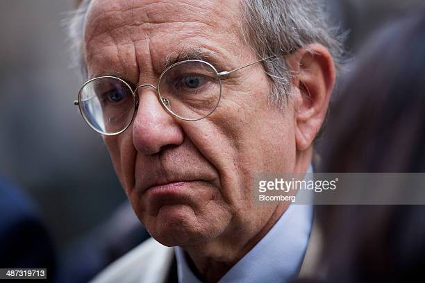 Pier Carlo Padoan Italy's finance minister arrives for a speech at the London School of Economics in London United Kingdom on Tuesday April 29 2014...