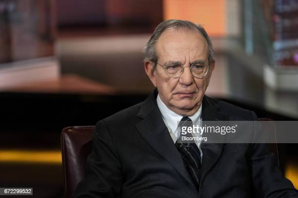 Pier Carlo Padoan Italy's finance minister listens during a Bloomberg Television interview in New York US on Monday April 24 2017 A victory...