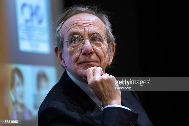 Pier Carlo Padoan Italy's finance minister pauses during his address at the London School of Economics in London United Kingdom on Tuesday April 29...