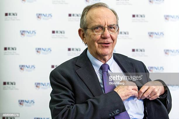 Pier Carlo Padoan Italy's finance minister speaks during a Bloomberg television interview in Singapore on Thursday April 9 2015 Padoan said he is...