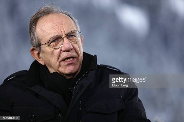 Pier Carlo Padoan Italy's finance minister speaks during a Bloomberg Television interview at the World Economic Forum in Davos Switzerland on...