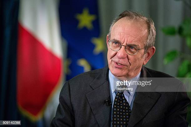 Pier Carlo Padoan Italy's finance minister speaks during a Bloomberg Television interview in Rome Italy on Monday Feb 8 2016 The expected decline of...