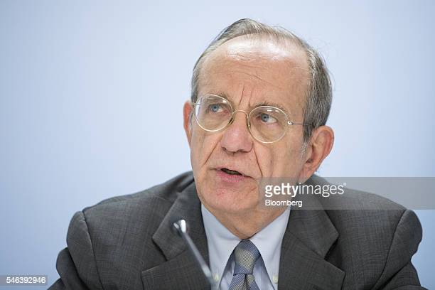 Pier Carlo Padoan Italy's finance minister speaks during a news conference at an Ecofin meeting of European finance ministers in Brussels Belgium on...