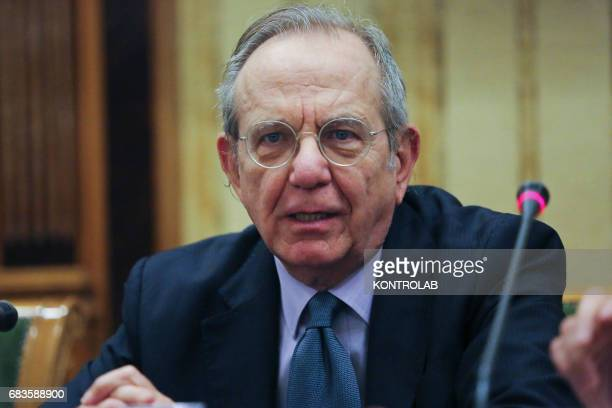 Pier Carlo Padoan Italy's finance minister speaks during a press conference Italy is Now and Next Impresa venture capital e private equity in the...