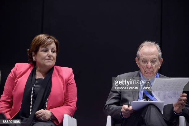 Pier Carlo Padoan Minister of Economy and Finance and Rossella Orlandi General Manager of Revenue Agency participate in the conference 'Digital Tax...
