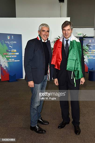 Pier Ferdinando Casini and Giandomenico Magliano pose at Casa Azzurri On Tour on June 17 2016 in Toulouse France