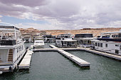 Pier for houseboatsand boats in Lake Powell , USA