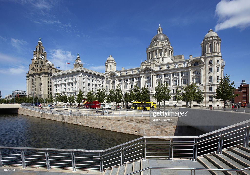 Pier Head at Liverpool riverside : Stock Photo