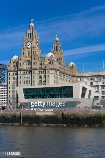 Pier Head Ferry Terminal and Liver Buildings, Liverpool, Merseyside, England