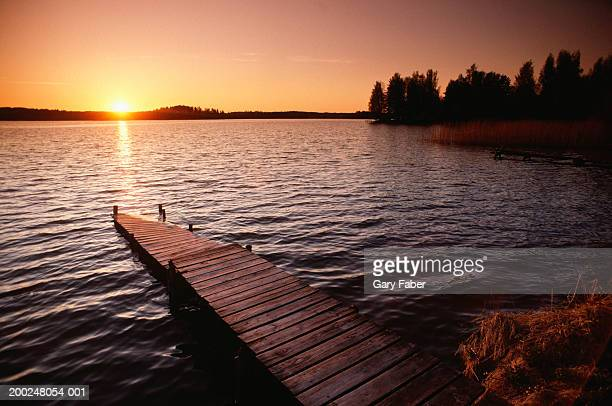 Pier in Lake Region at sunset, Finland