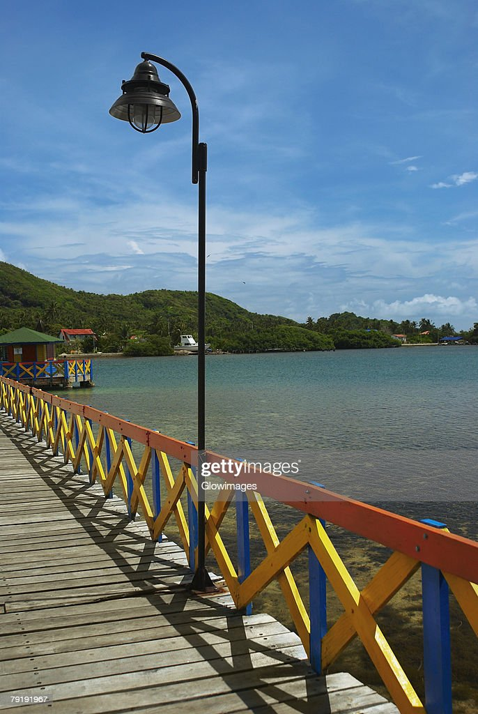 Pier in the sea, Lovebird's Bridge, Providencia, Providencia y Santa Catalina, San Andres y Providencia Department, Colombia : Stock Photo