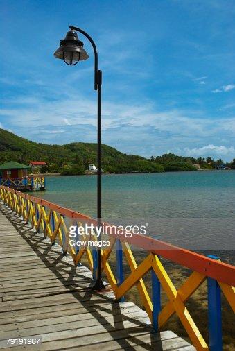 Pier in the sea, Lovebird's Bridge, Providencia, Providencia y Santa Catalina, San Andres y Providencia Department, Colombia : Stock Photo
