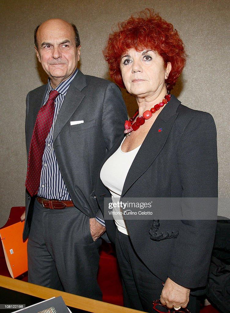 Pier Luigi Bersani and Valeria Fedeli attend 'Il futuro e di tutti ma e uno solo' book presentation held at Casa della cultura on January 18 2011 in...