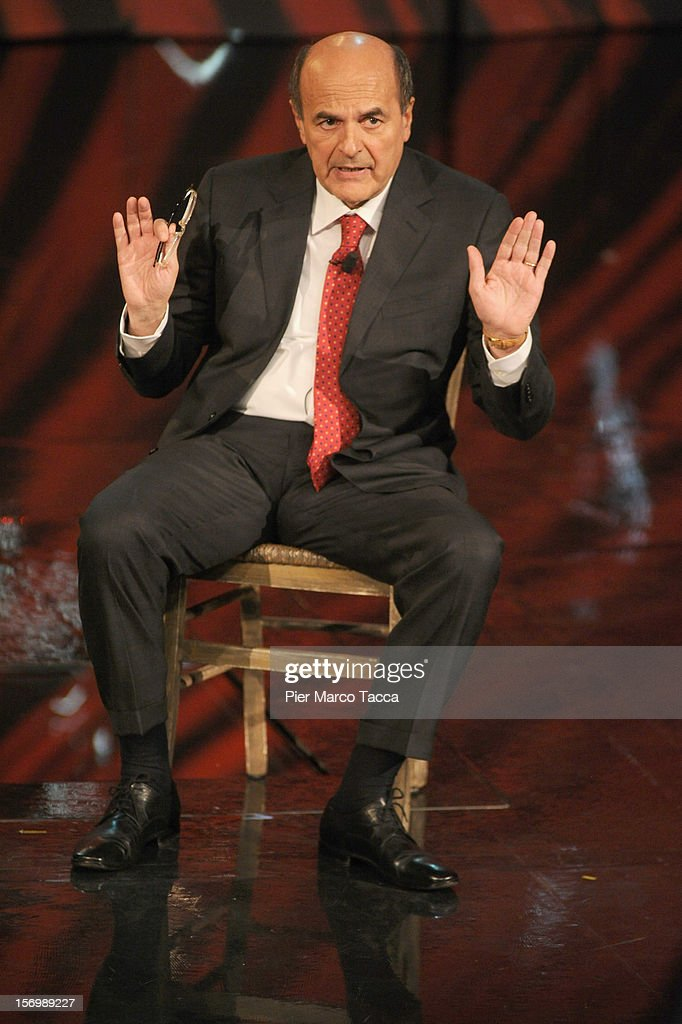 Pier Luigi Bersani attends 'Che Tempo Che Fa' Italian TV Show on November 26, 2012 in Milan, Italy.