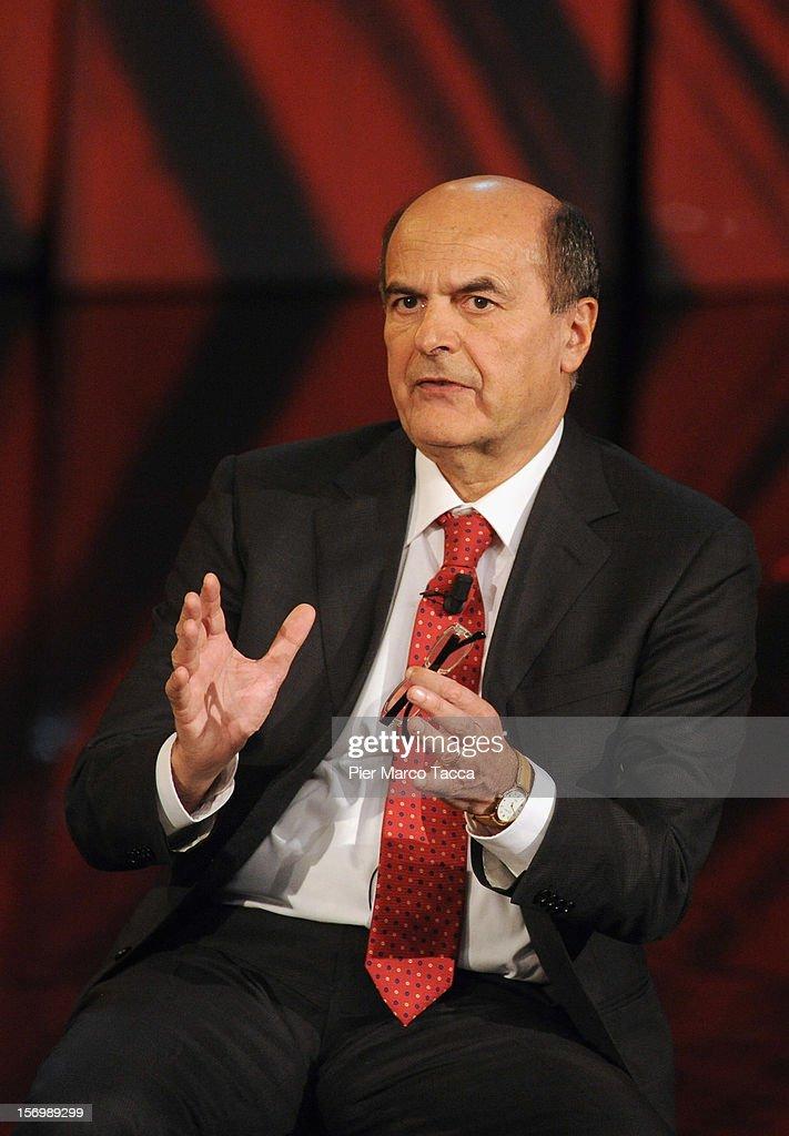 Pier Luigi Bersani attends 'Che Tempo Che Fa' Italian TV Show on November 26 2012 in Milan Italy