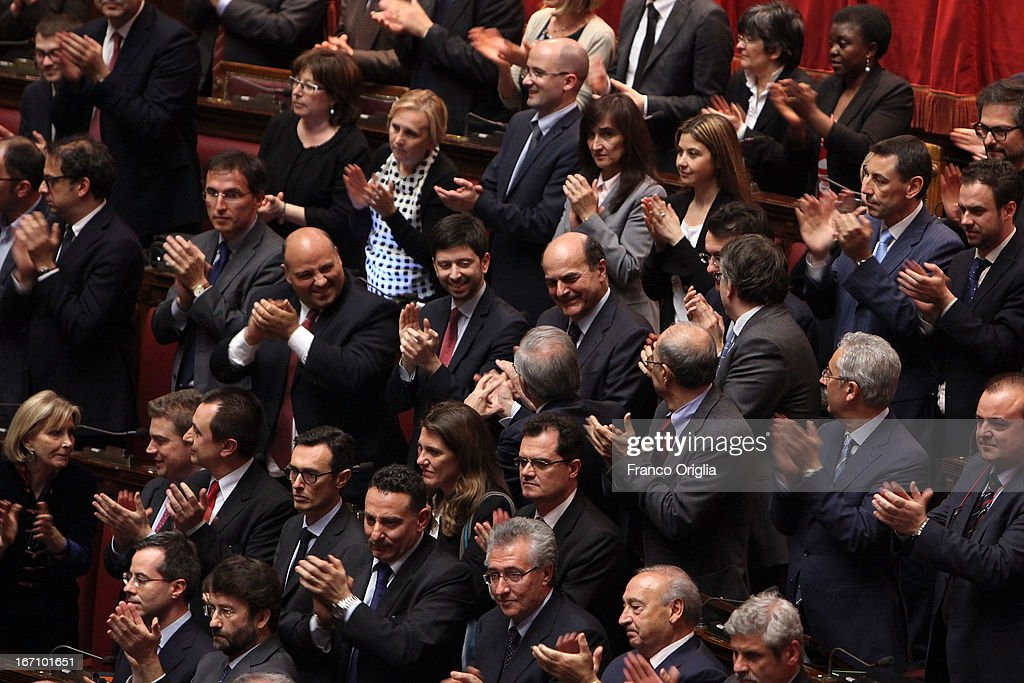 Pier Luigi Bersani leader of Democratic Party claps after Parliament voted for President of Republic on April 20 2013 in Rome Italy After five...