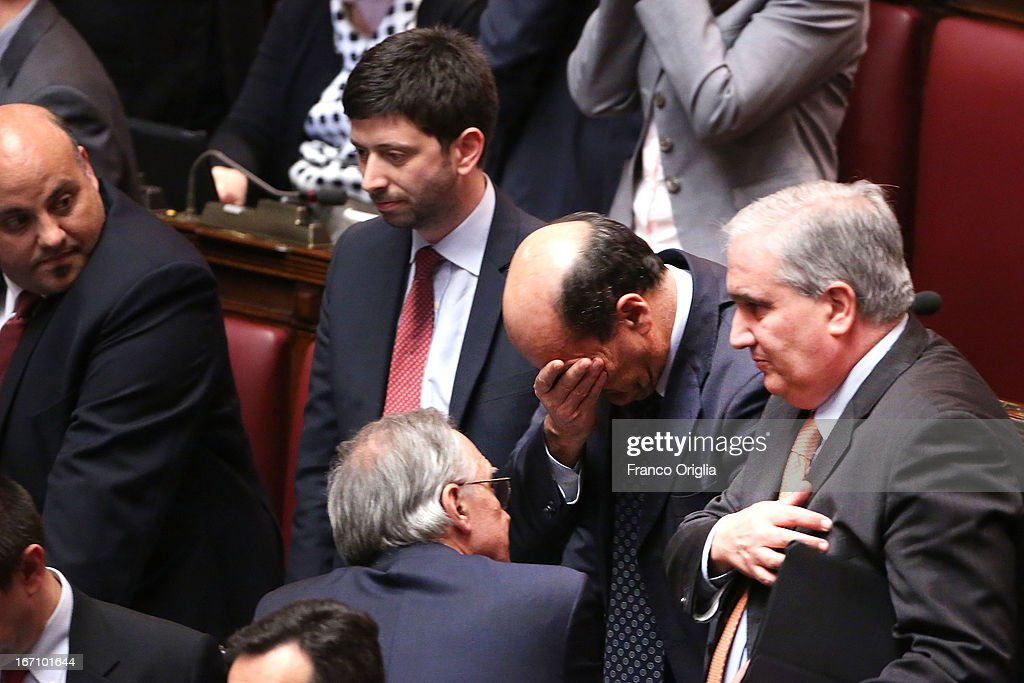 Pier Luigi Bersani leader of Democratic Party reacts after Parliament voted for President of Republic on April 20 2013 in Rome Italy After five...